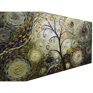 Abstract Wall Art Palette Knife 100% Hand Painted Multiple Circles Background