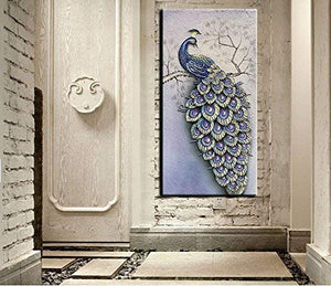 Hand Painted Oil Painting Purple Elegant Peacock Concave-Convex Textured Perfect As Gift