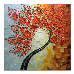 Large Square Red 3D Palette Knife Painting Wall Art for Living Room