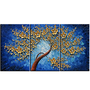 Wall Art Sets Three Panels Flower Tree Canvas Painting for Living Room