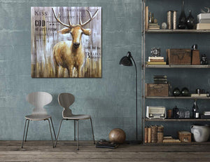 Home Decor Art Cute Abstract Deer Wooden Texture Background Decor Home