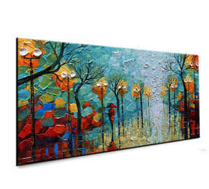 Home Decor Canvas Wall Art Walking on a Brightly Lit Street Thick Oil