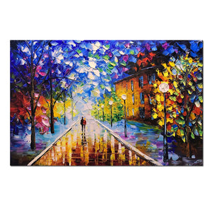 Large Wall Art Decor Two Slim Woman Walk in Park Colorful Canvas Paintings