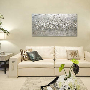 Oil Painting White Flower 3D Petals Clearly Texture Decor Home Upgrade Life