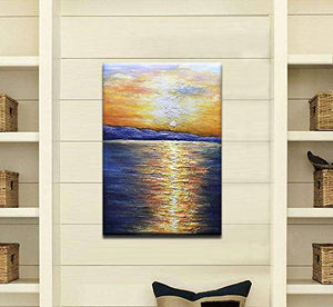 Vertical Huge Canvas Seaside Sunrise Distant View Paintings