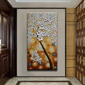 Vertical White Petals Brown Starry Night Huge Canvas Wall Art