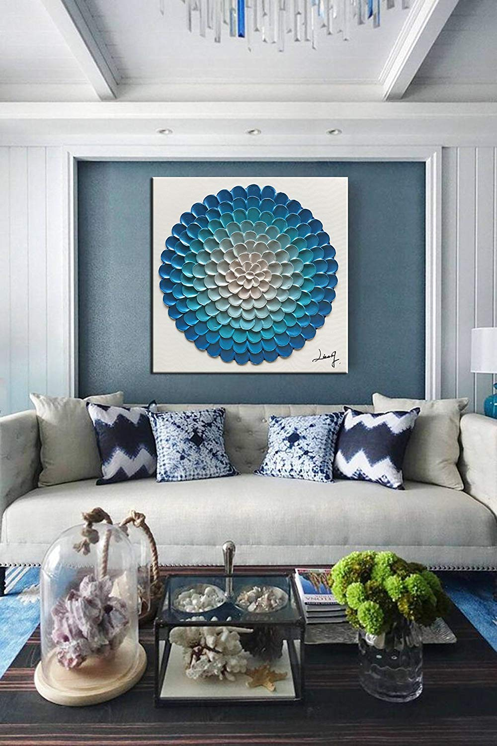 Inexpensive Artwork Decor Home Wall 100% Hand Painted Large Blue Flower Canvas Painting