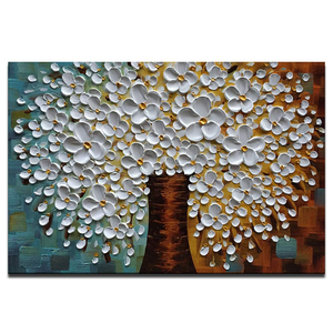 Original Art Oil Paintings 100% Hand Painted White Petals Flower Tree