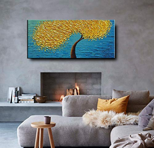 Huge Wall Art Abstract Gold Flower Tree Good Choice to Gift Parents