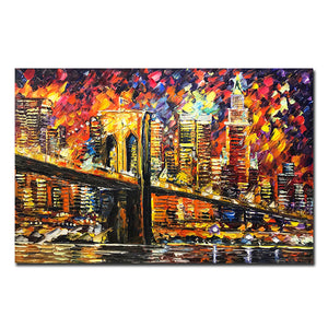 Colorful 3D Knife Painting Modern City Viaduct Riverside Scenery Wall Art