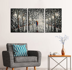 Large 3 Piece Canvas Wall Art Light Grey Street Rainy Lover Romantic Walk