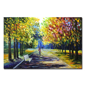 Large Art Fall Pedestrians Stroll Along Park Sidewalk on Sunny Day