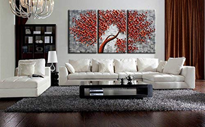 3 Piece Wall Paintings Red Flower Grey Textured Canvas Art Decor Family