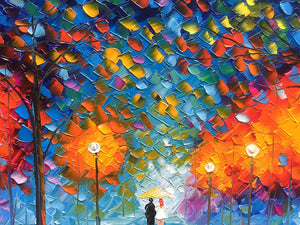 Hand Painted Paintings Romantic Rainy Night Lovers Walk Together Original Canvas Art