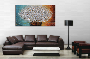 Large Artwork Cheap Single Big White Flower Oil Painting for Bedroom