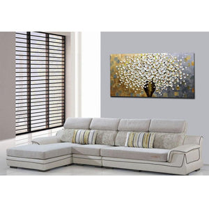 White Flower and Brown Vase Large Canvas Wall Art for Bedroom