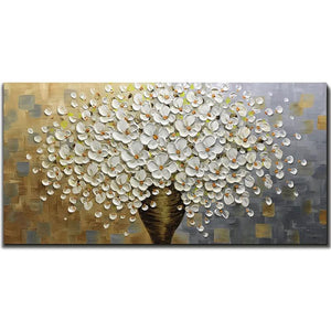 Large Canvas Wall Art Waterproof Flower Bouquet Big Vase Clear Texture