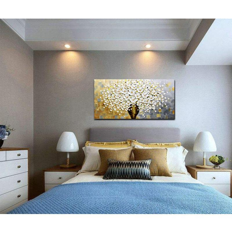 Astonishing White Flower And Brown Vase Large Canvas Wall Art For Bedroom Home Interior And Landscaping Palasignezvosmurscom