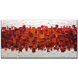 Large Living Room Art Red Middle Two Side White Clear Thick Textured