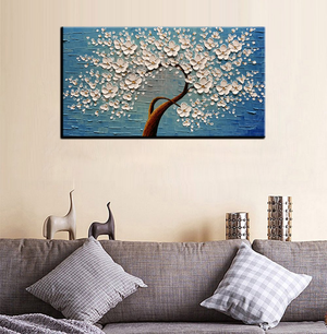 Large Modern Painting Flower Tree Blue Texture Canvas Decor Bedroom
