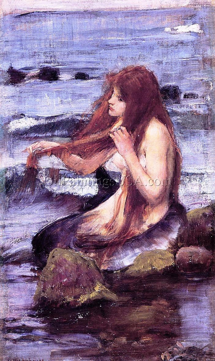 Copy Large Oil Painting John William Waterhouse Sketch for A Mermaid