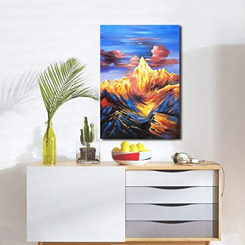 Large Oil Paintings on Canvas Red Mountain Blue Sky Decor Hallway