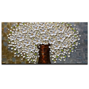 Large Original Art White Brown Petal Trunk Wall Canvas for Family Room