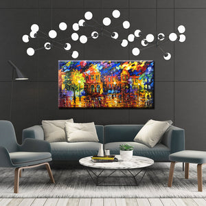 Abstract Colorful 3D Large Paintings Thick Oil House Street Canvas Art