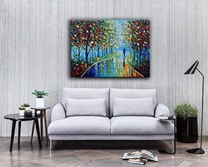 100% Hand Painted Modern Paintings for Home Colorful Forest Park Meander Canvas Wall Art