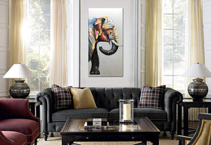 Large Paintings for Sale Colorful Elephant Canvas Art Decor Hallway