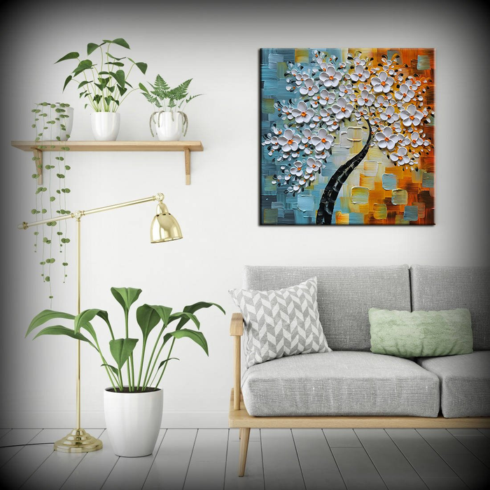 Large Abstract Wall Art Square Flower Oil Paintings Decor Living Room