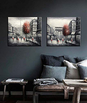 Bedroom Art Paintings Romantic Pairs Street Acrylic Canvas Wall Art Housewarming Gift