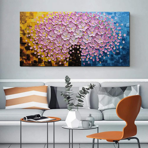 Large Wall Art Pink Flower Tree Canvas Paintings Decor Living Room