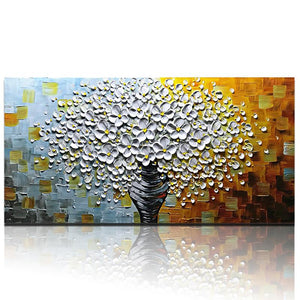 Large Wall Art White Flower Gray Vase Colorful Texture