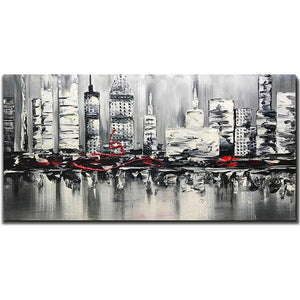 Gray Abstract Modern City Hand Painted Large Wall Art Decor