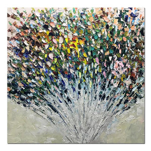 Square Abstract Colorful Floral Bouquet   Large Wall Art