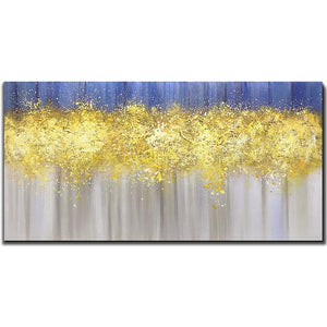 Abstract Purple Gold Brown Blurry Large Wall Canvas