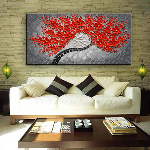 Large Wall Paintings for Living Room Red Flower Tree Thick Oil Canvas