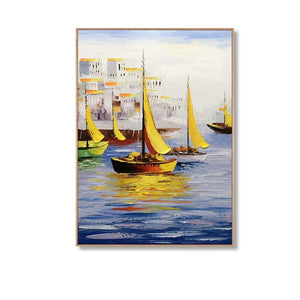Large Artwork for Living Room Handcrafted Acrylic Canvas Painting Boat Docked at the Port