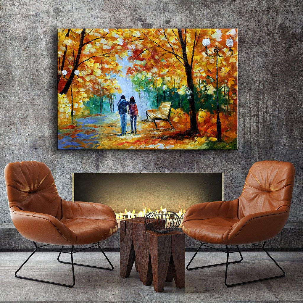 Large Inexpensive Wall Art Couple Walk in Fall Park Handmade Canvas Painting