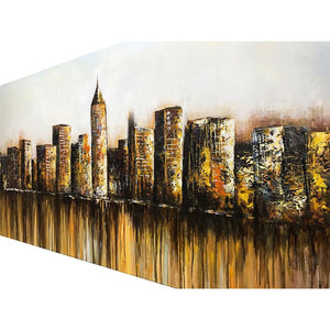 Morden City High-rise Building Water Reflection Living Room Art Walls