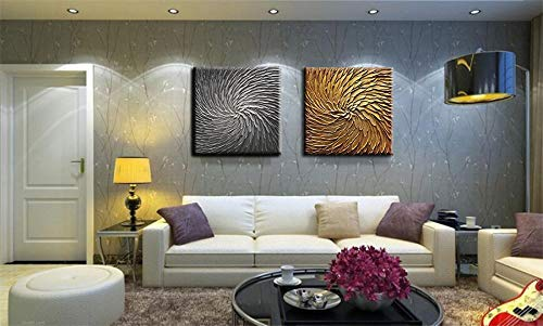 Handmade Oil Painting Silver Square Thick Acrylic Wall Canvas Art Decor Living Room