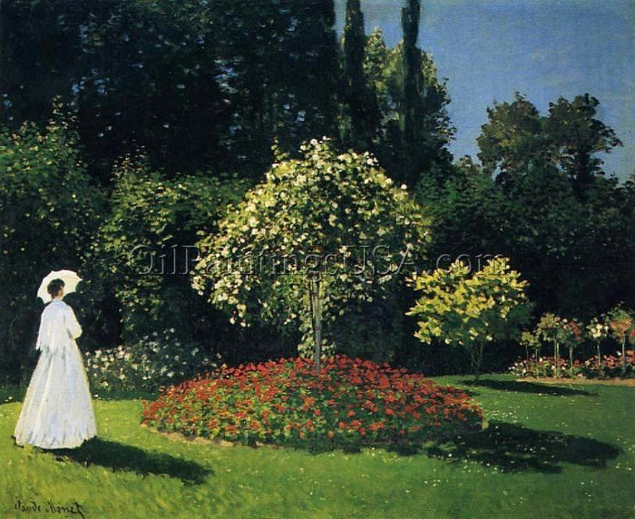 Living Room Artwork Claude Monet Jeanne Marguerite Lecadre in the Garden
