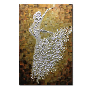 Living Room Artwork White Beautiful Dancer Girl Acrylic Painting Decor Living Room