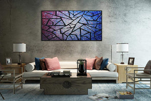 Living Room Canvas Art Abstract Crack Block Hand Painted Oil Painting