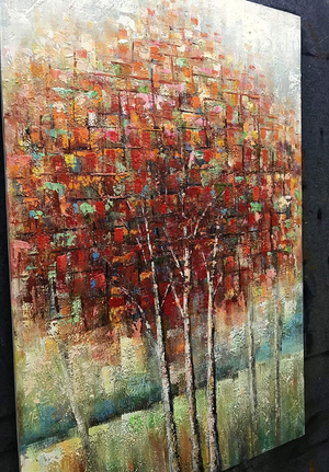 Living Room Art Red Tree in Suburbs Clearly Textured Canvas Painting Bedroom