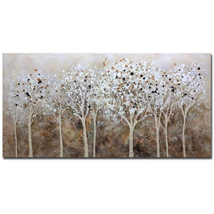 Long Canvas Art White Tree Landscape Oil Wall Painting Decor Living Room