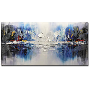 Long Canvas Painting Abstract Blue Reflection Wall Art As Birthday Gift