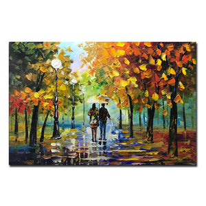 Long Canvas Painting Fall Rainy Day Lover Go for a Walk with Little Dog