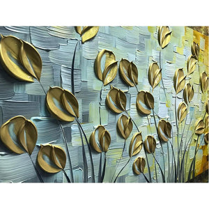 Gold Petals Clearly Texture Long Wall Art Canvas for Living Room
